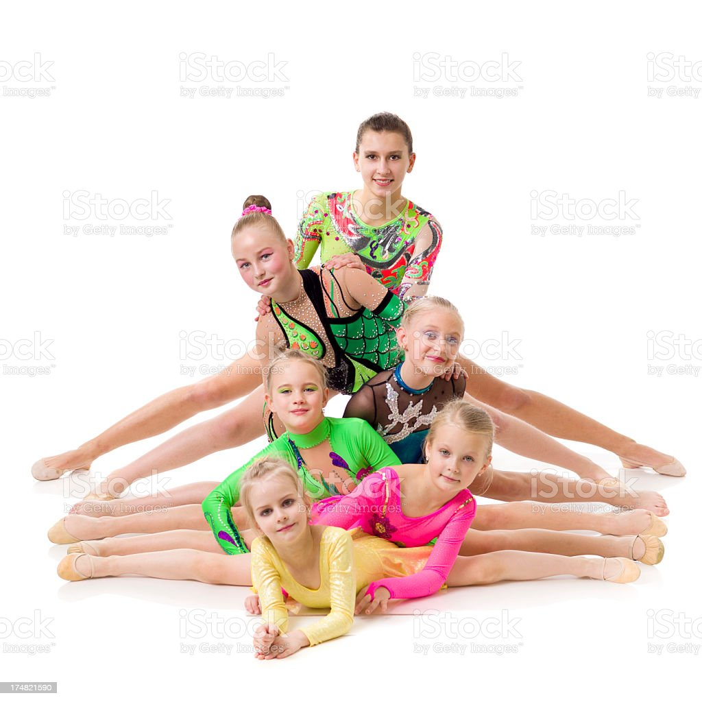 Acrobatic Dancers Doing Split on white background royalty-free stock photo