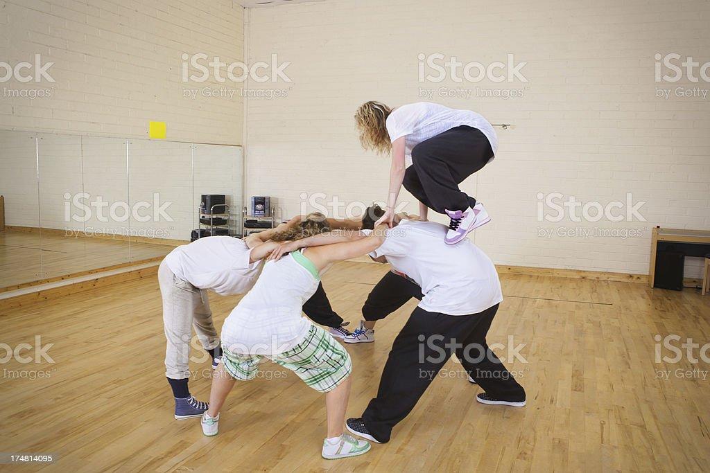 Acrobatic performance practice stock photo