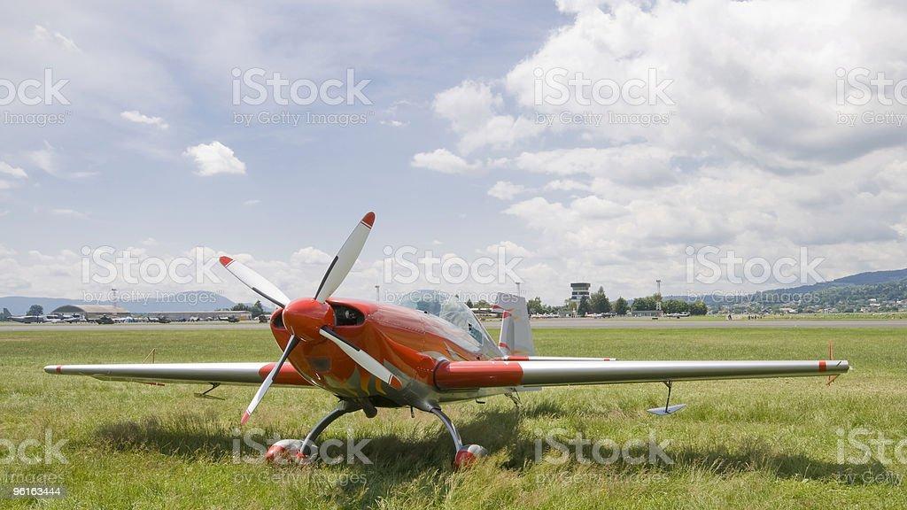 Acrobatic propeler plane stock photo