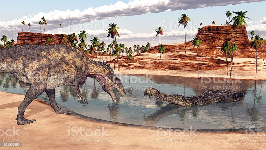 Acrocanthosaurus and Sarcosuchus vector art illustration