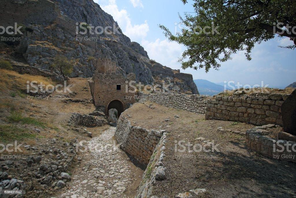 Acrocorinth (the acropolis of ancient Corinth) stock photo