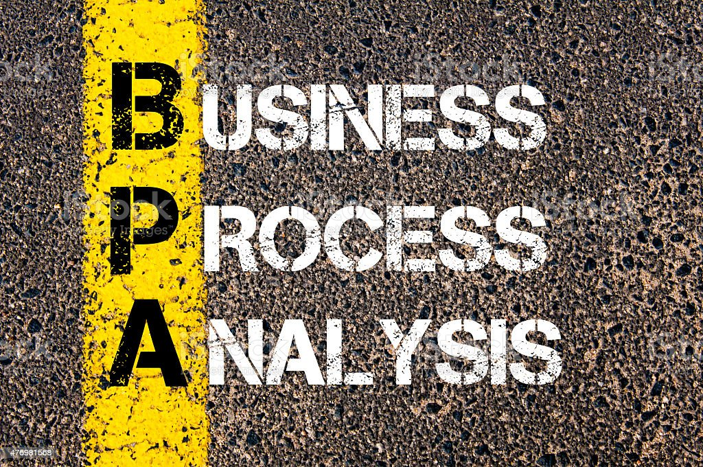 Acronym BPA as BUSINESS PROCESS ANALYSIS stock photo