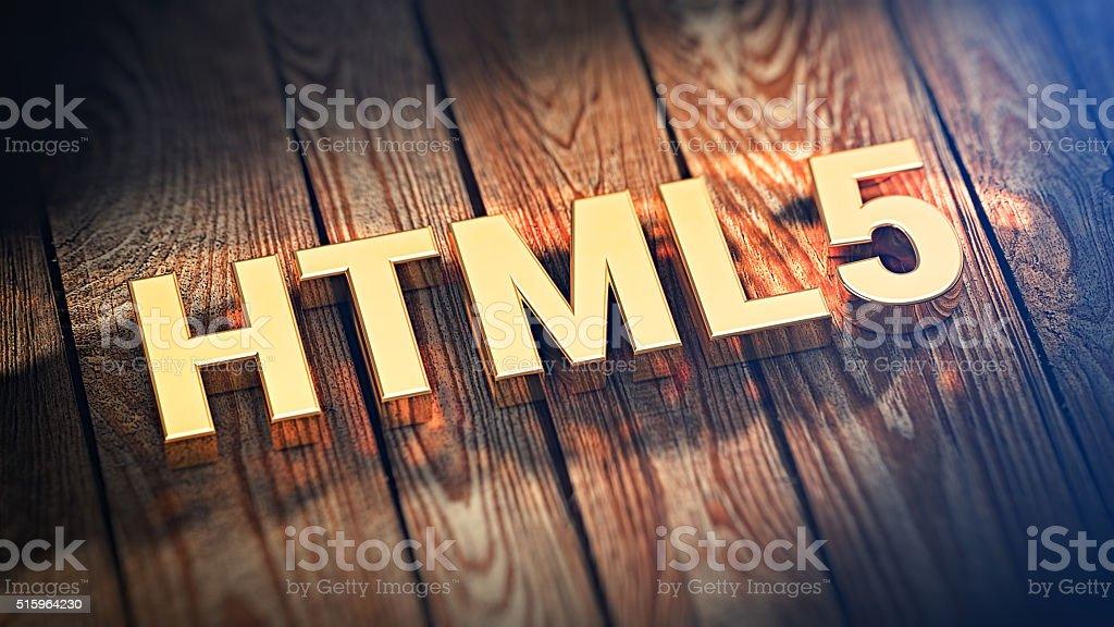 Acronym HTML5 on wood planks stock photo