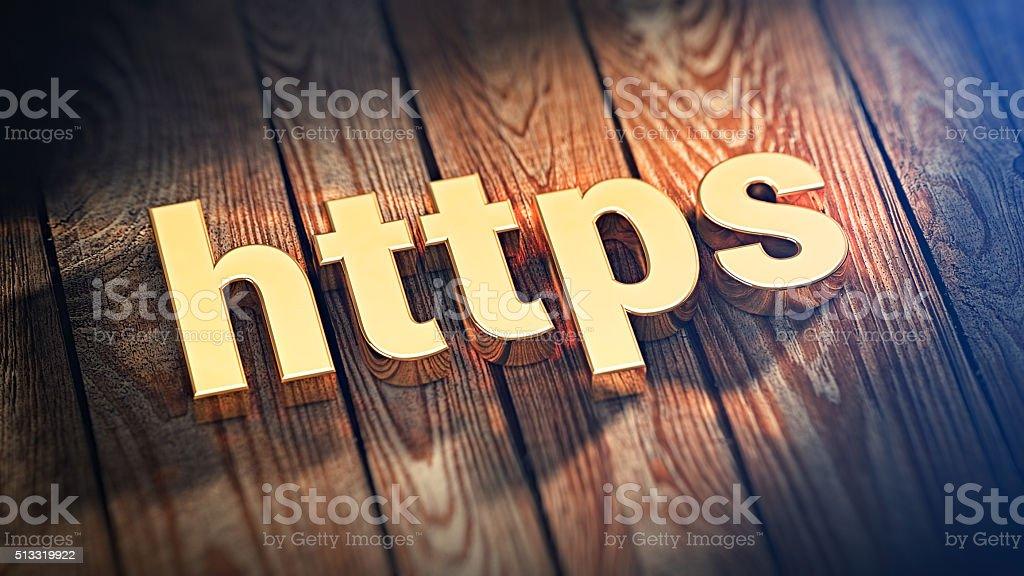 Acronym HTTPS on wood planks stock photo