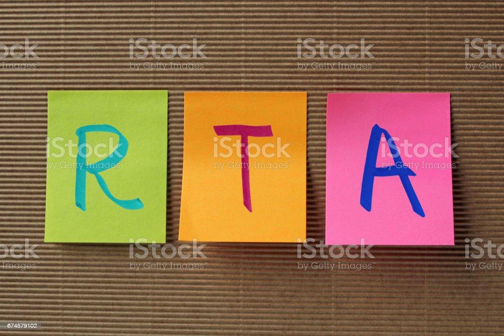 RTA acronym on colorful sticky notes stock photo