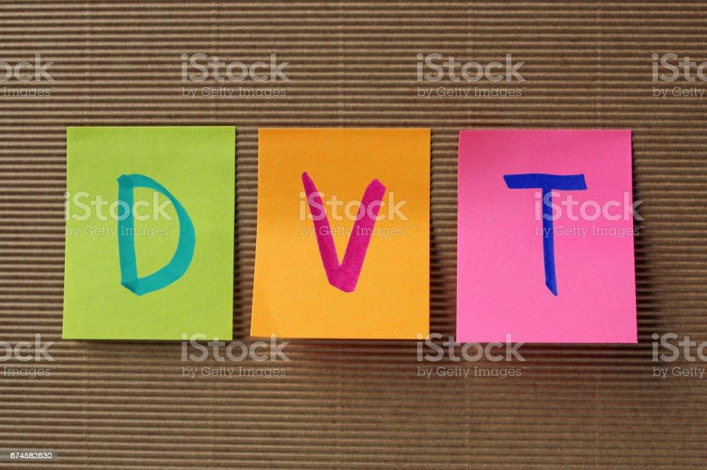 DVT acronym on colorful sticky notes stock photo