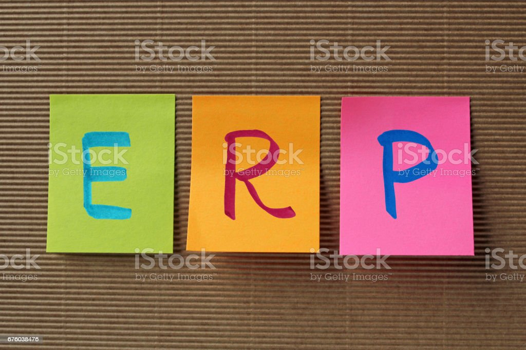 ERP acronym on colorful sticky notes stock photo