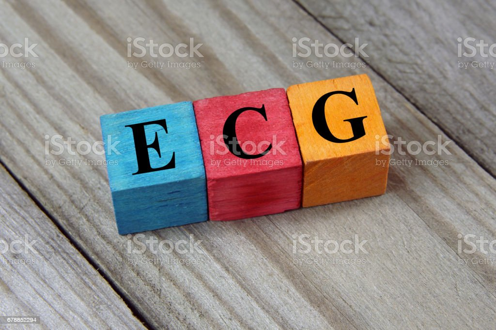 ECG acronym on colorful wooden cubes stock photo