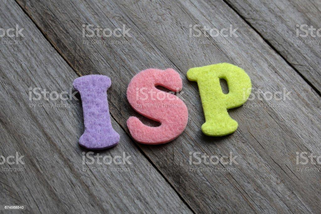 ISP acronym on wooden background stock photo