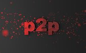 Acronym 'p2p' with pixels / particles flying around.