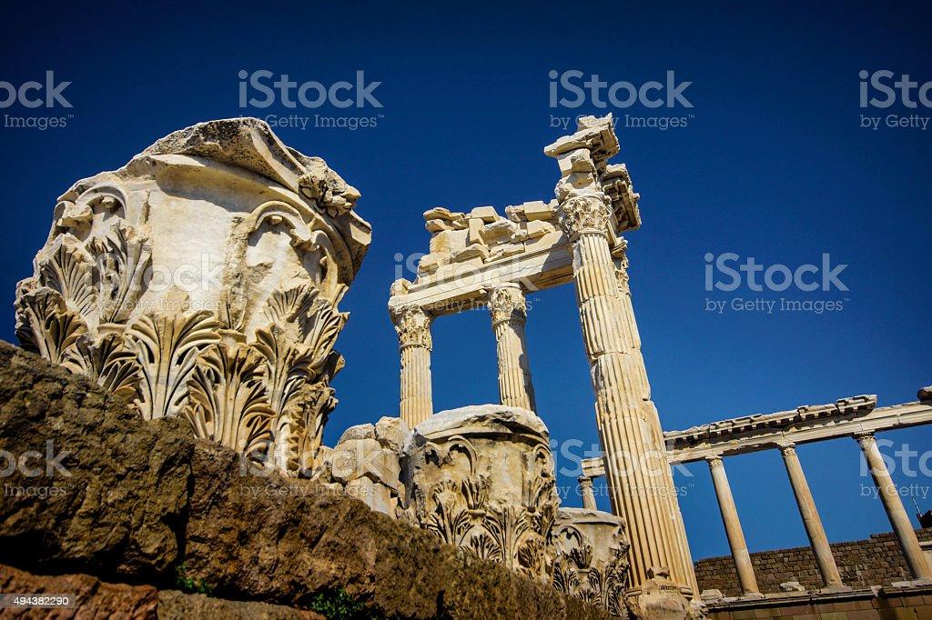 Acropolis ancients in bergama stock photo