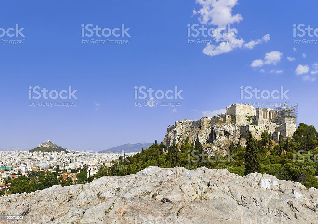 Acropolis and Athens, Greece royalty-free stock photo