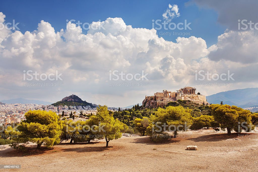 Acropolis and Filopappos Hill. Athens, Greece. stock photo