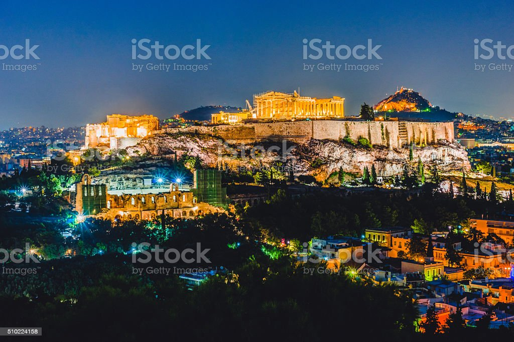 Acropolis at night in Athens, Greece stock photo