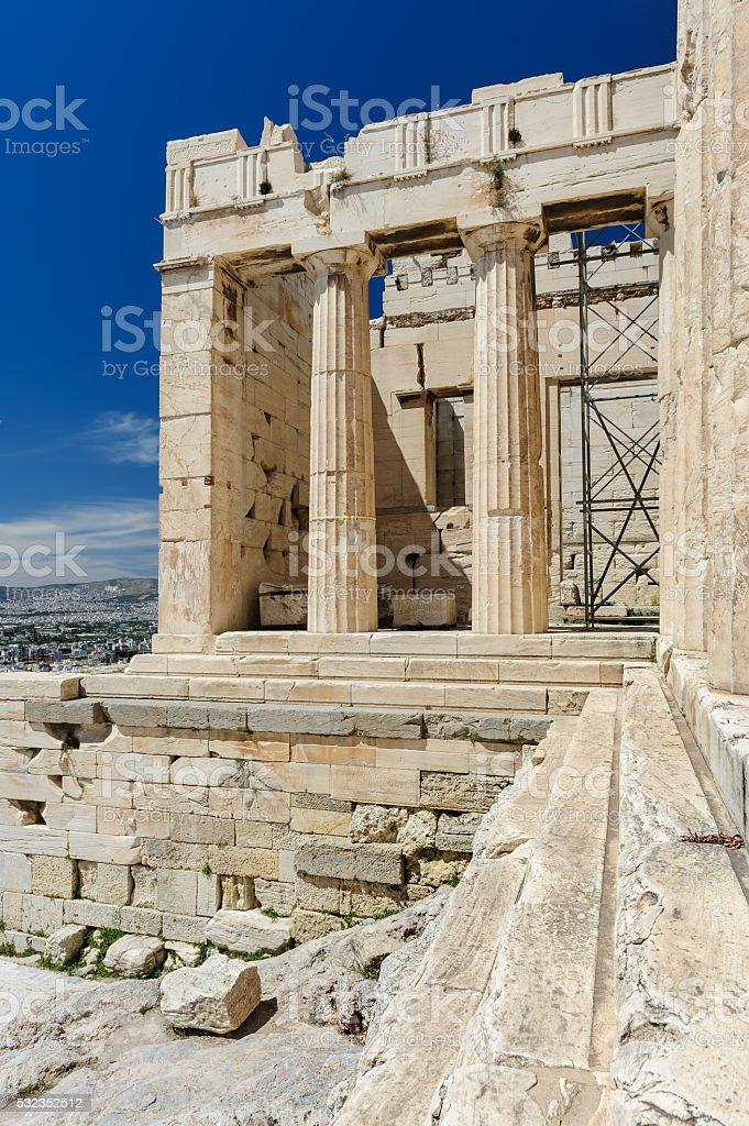 Acropolis entrance details, Athens, Greece stock photo