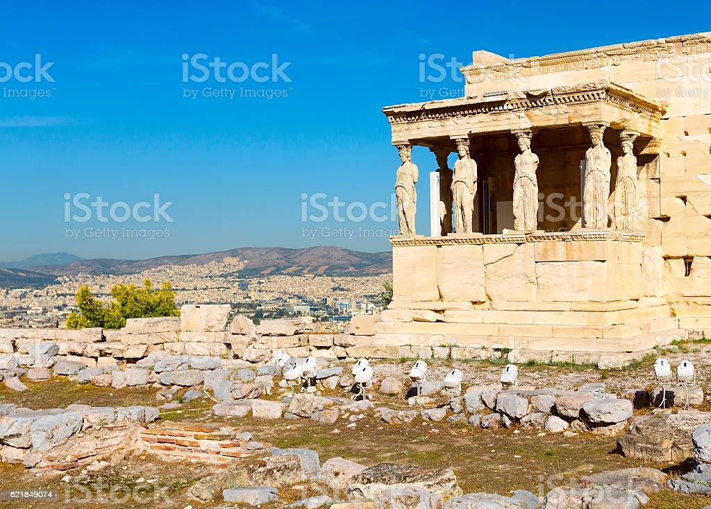 Acropolis, Erechtheum Temple in Athens, Greece stock photo