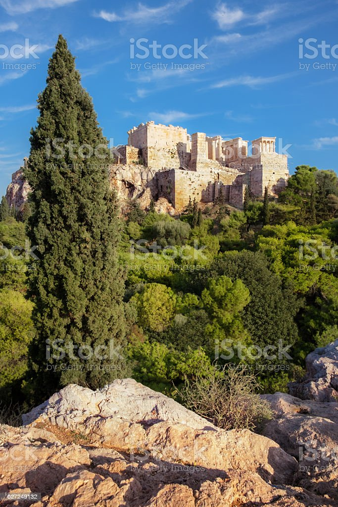 Acropolis fortress from the Areopagus in Athens stock photo