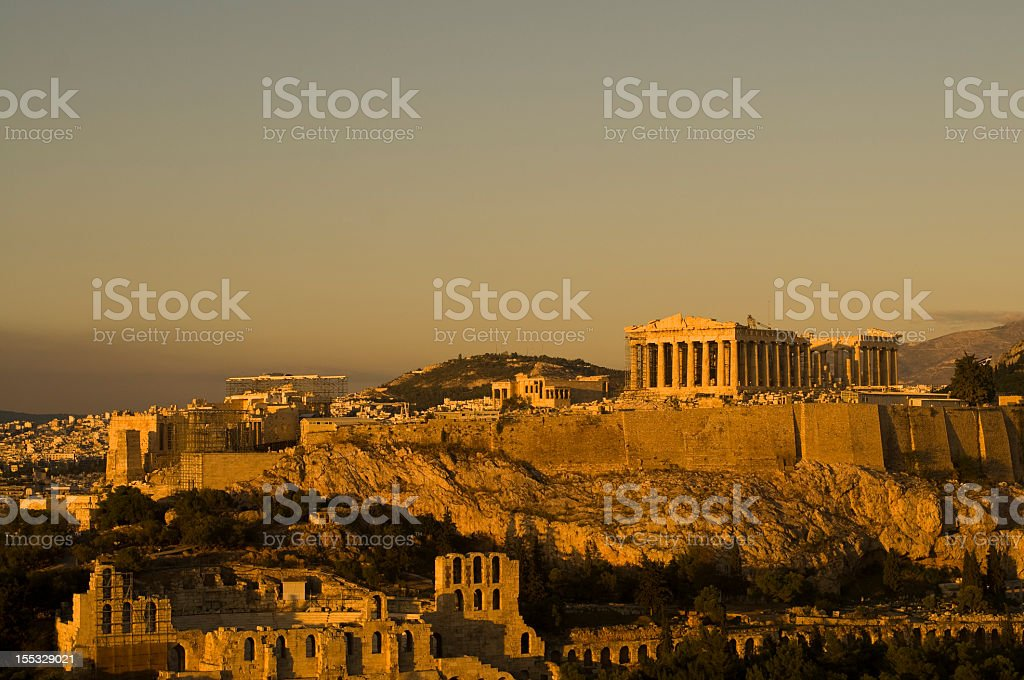 Acropolis Hill, Athens, Greece, in golden sunset color stock photo
