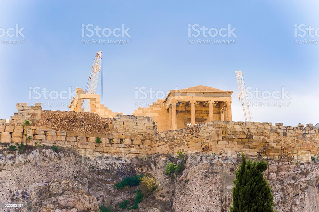 Acropolis Hill in Athens, Greece. stock photo