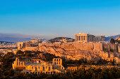 Acropolis Hill, Parthenon, Athens, Greece. Odeon Herodes Atticus. Golden Twilight.