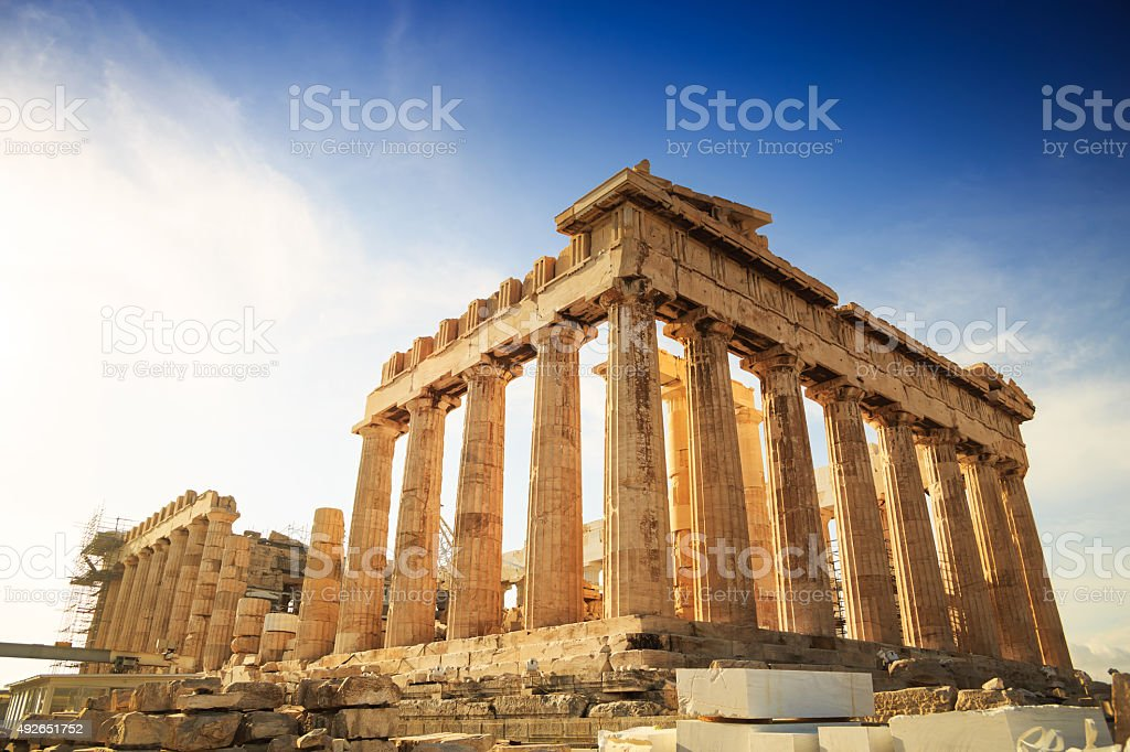 Acropolis Hill, Parthenon, Athens, Greece. Odeon Herodes Atticus. stock photo