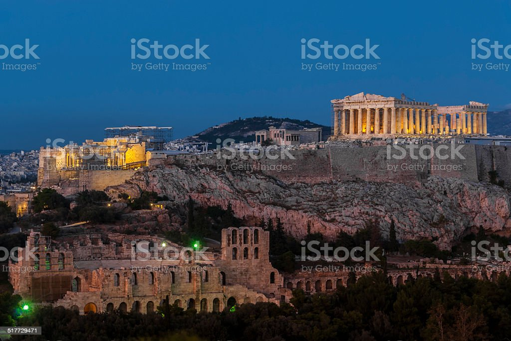 Acropolis Hill, Parthenon, Herodes Atticus Theatre. Night Illumination. Athens, Greece stock photo