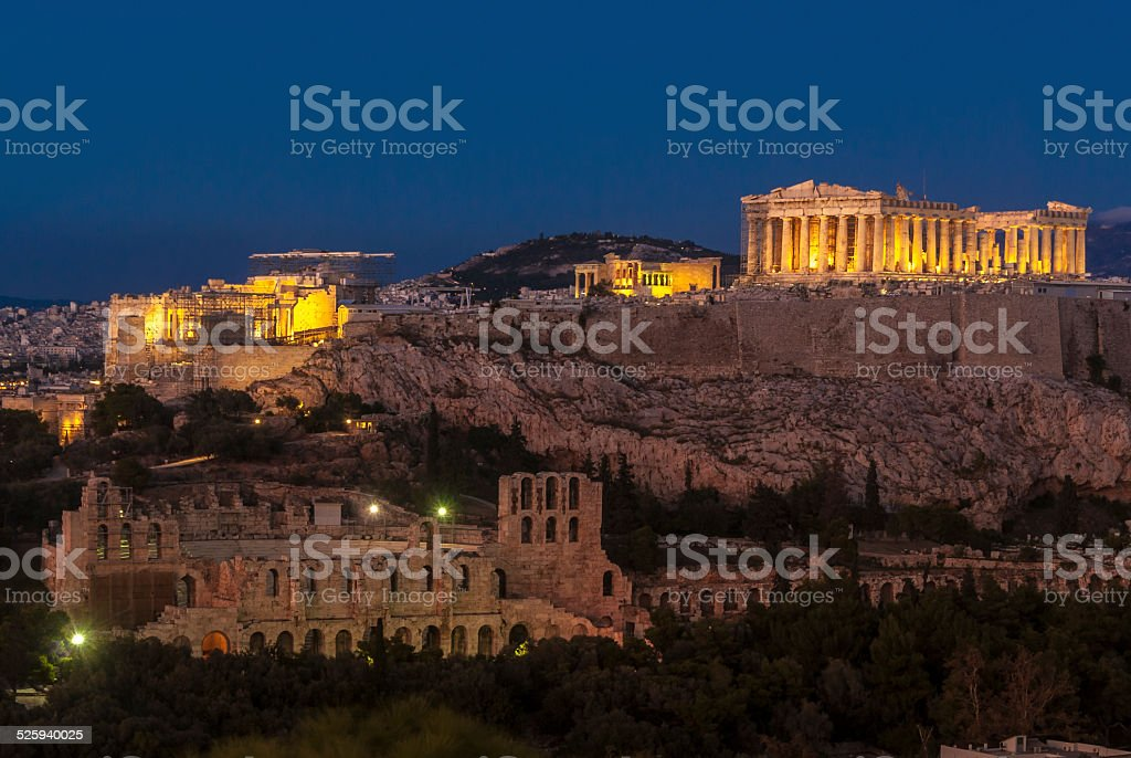 Acropolis Hill with Parthenon and Herodes Atticus Theatre. Night Illumination. stock photo