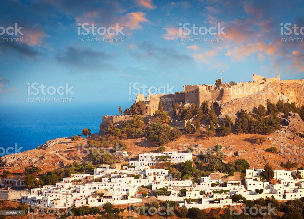 Acropolis in Lindos at Rhodes island stock photo