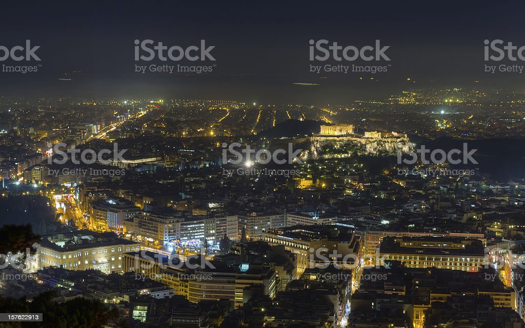 Acropolis night view from Lycabettus hill, Athens royalty-free stock photo
