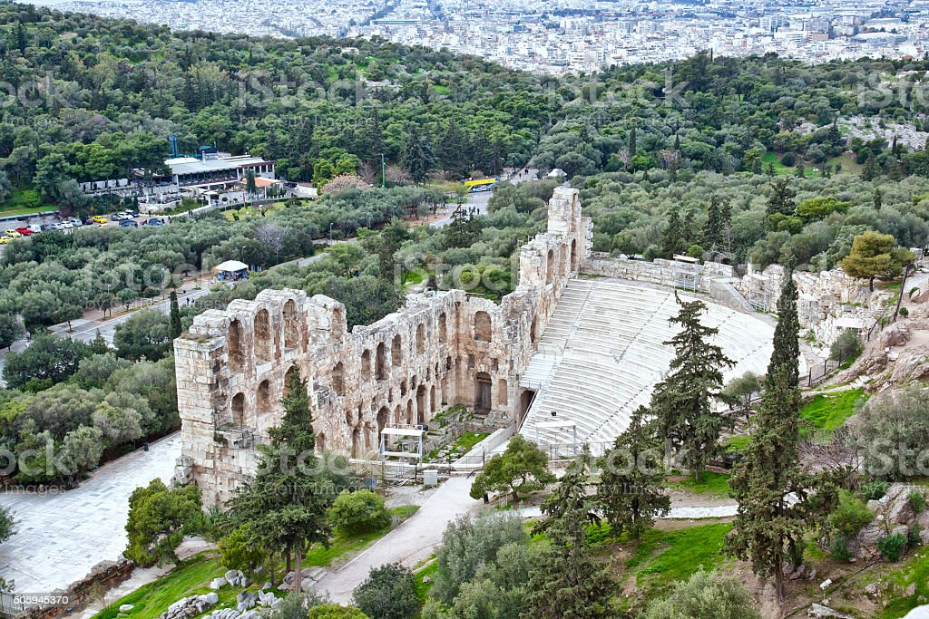Acropolis of Athens. Remains of Odeon of Herodes Atticus stock photo