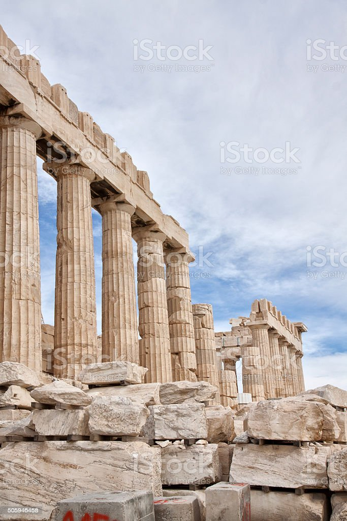 Acropolis of Athens. Ruins of Parthenon stock photo