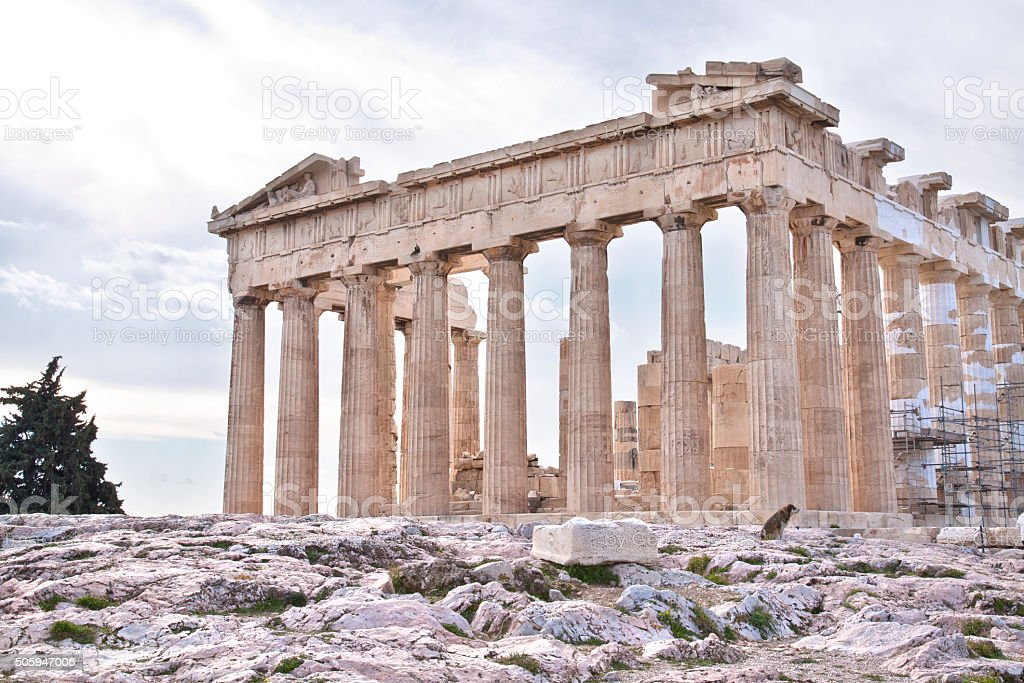Acropolis of Athens. Ruins of Parthenon stock photo