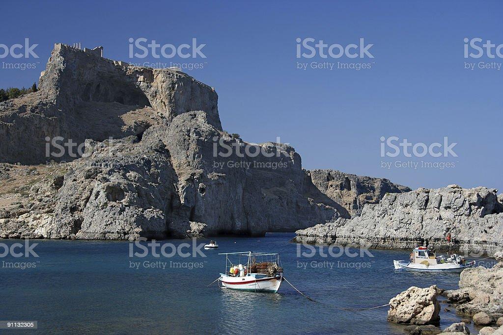 Acropolis Of Lindos And Agios Pavlos Bay royalty-free stock photo