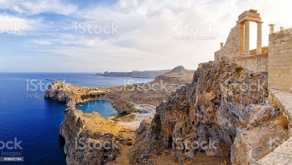 Acropolis of Lindos. Doric columns  ancient Temple  Athena Lindia stock photo