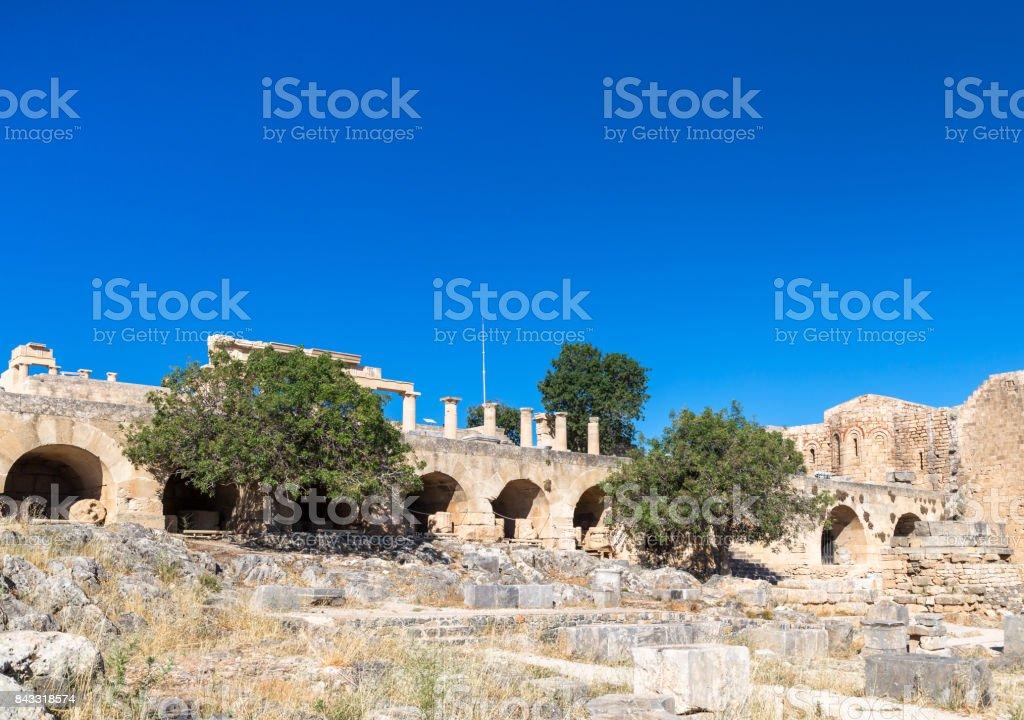 Acropolis of Lindos, Rhodes stock photo