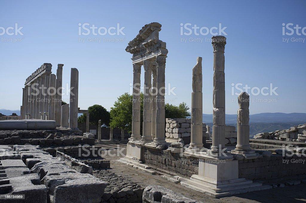 Acropolis of Pergamon with Roman temple in Turkey stock photo