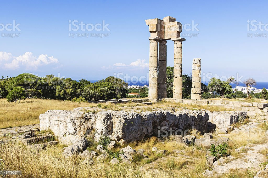 Acropolis of Rhodes stock photo