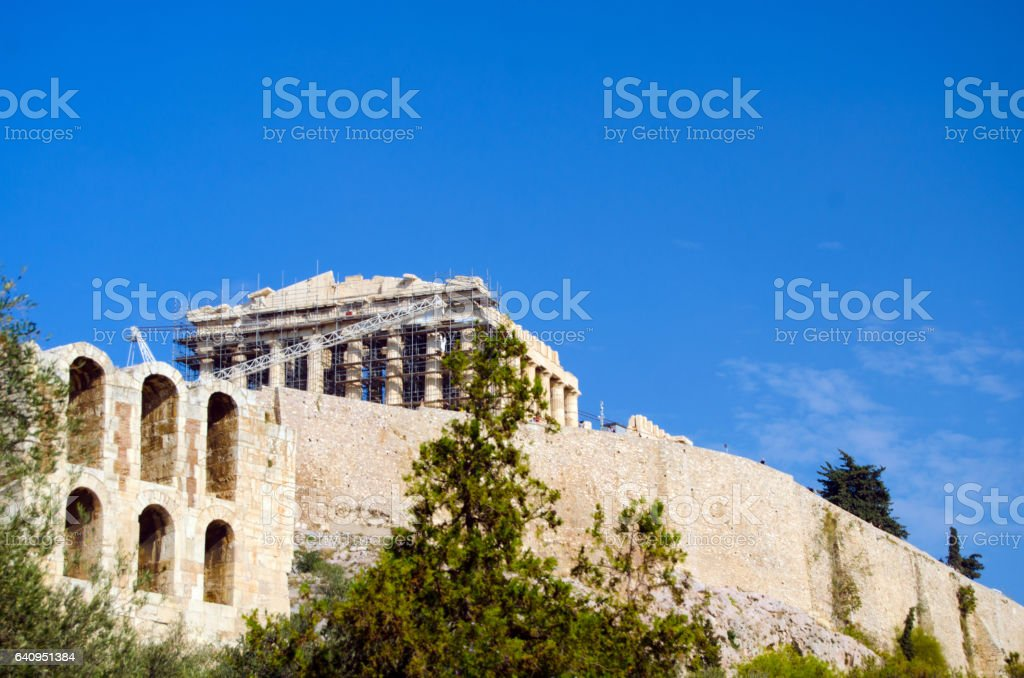 Acropolis seen from below stock photo