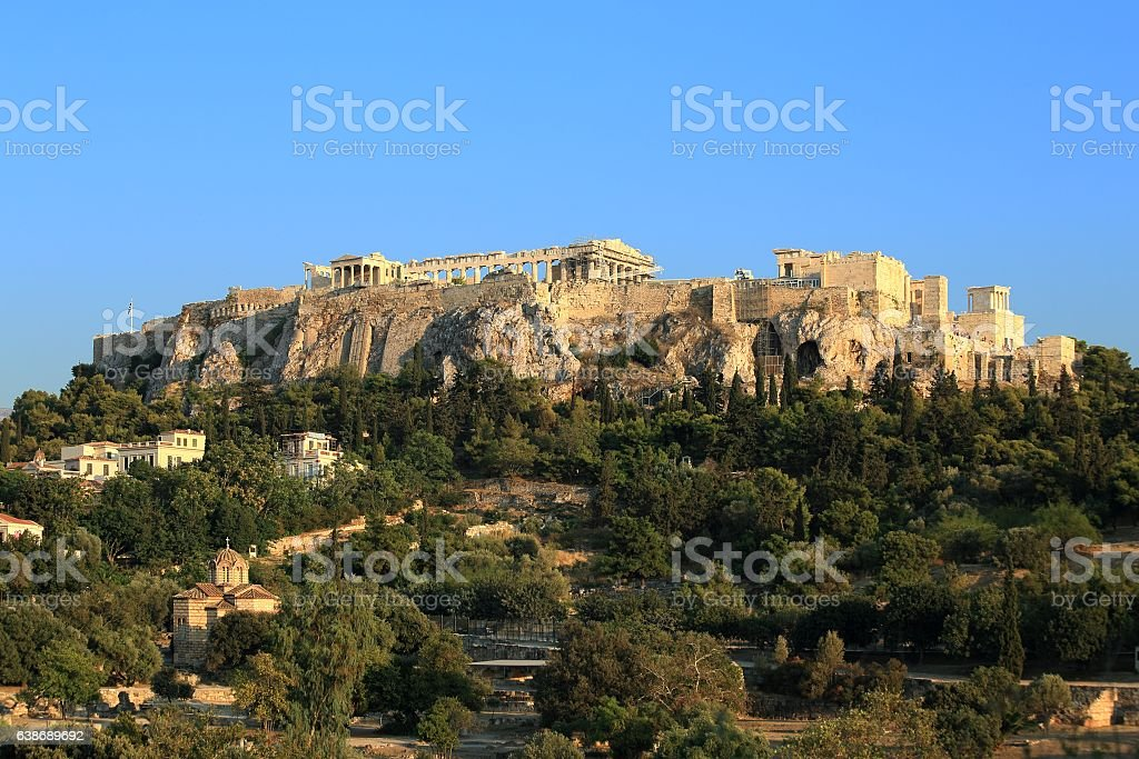 Acropolis view from the ancient Agora stock photo