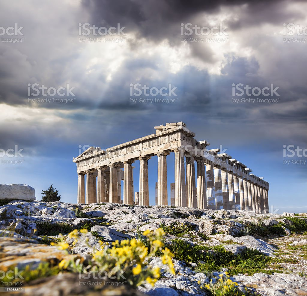 Acropolis with Parthenon temple in Athens,  Greece stock photo
