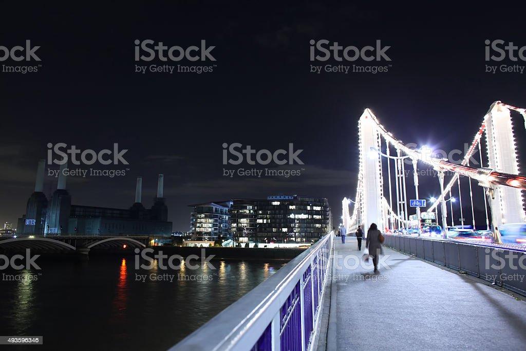 Across Chelsea Bridge at night stock photo