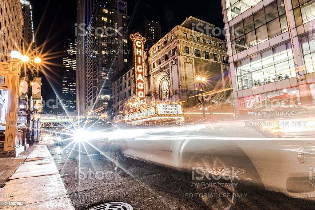 Across Street from Chicago Theatre at Night stock photo