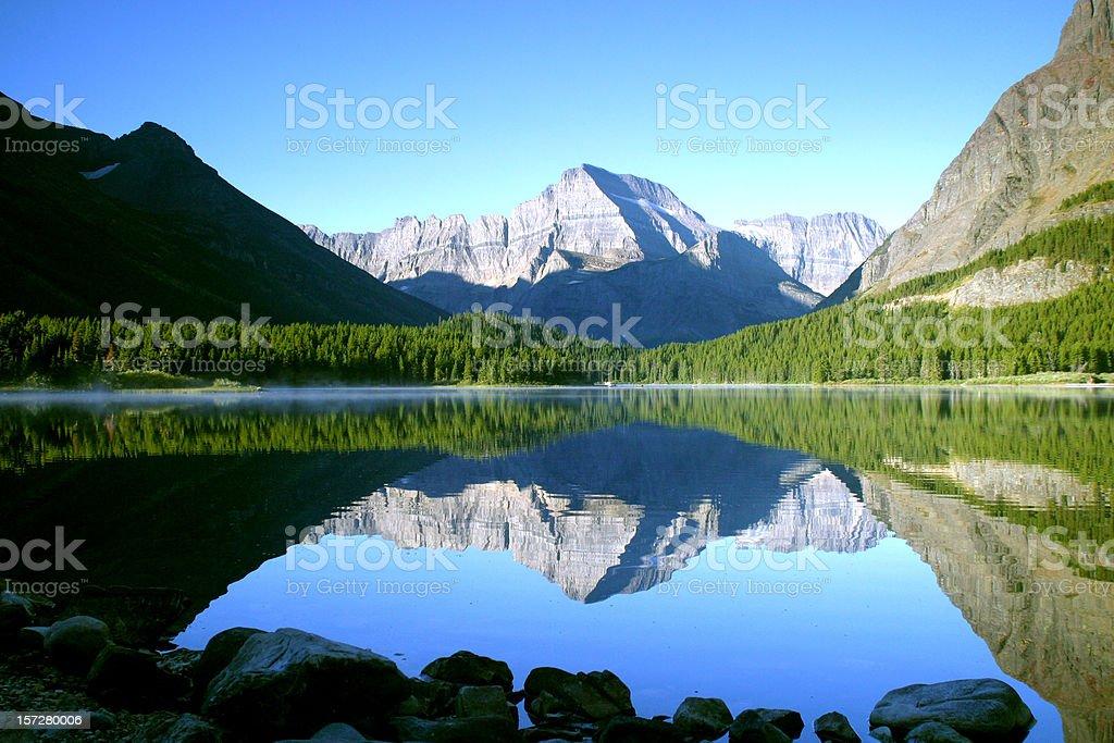 Across Swiftcurrent Lake stock photo