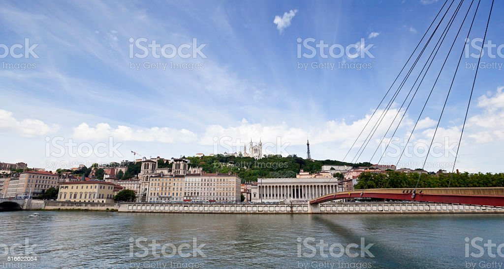 Across the Saone River to Old Lyon stock photo