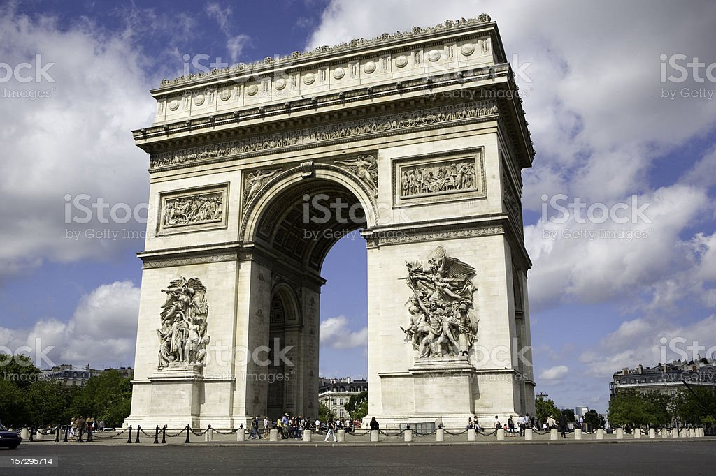 Across the street full view of Arc De Triomphe stock photo