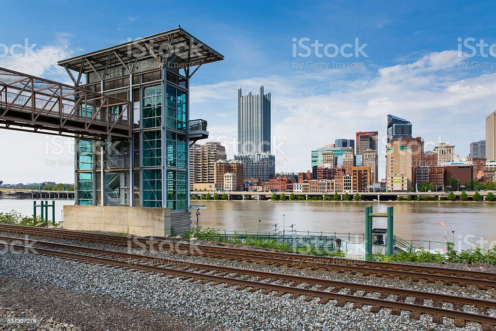 Across the Tracks and the Mon stock photo