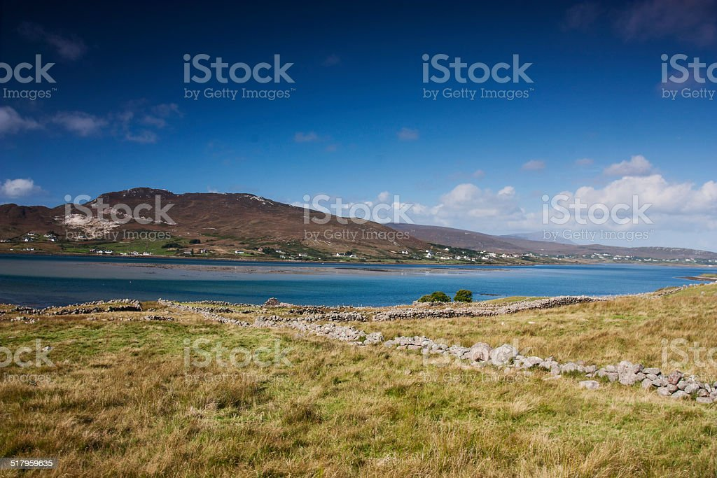 across the water to Achill Island from Glassillaun stock photo
