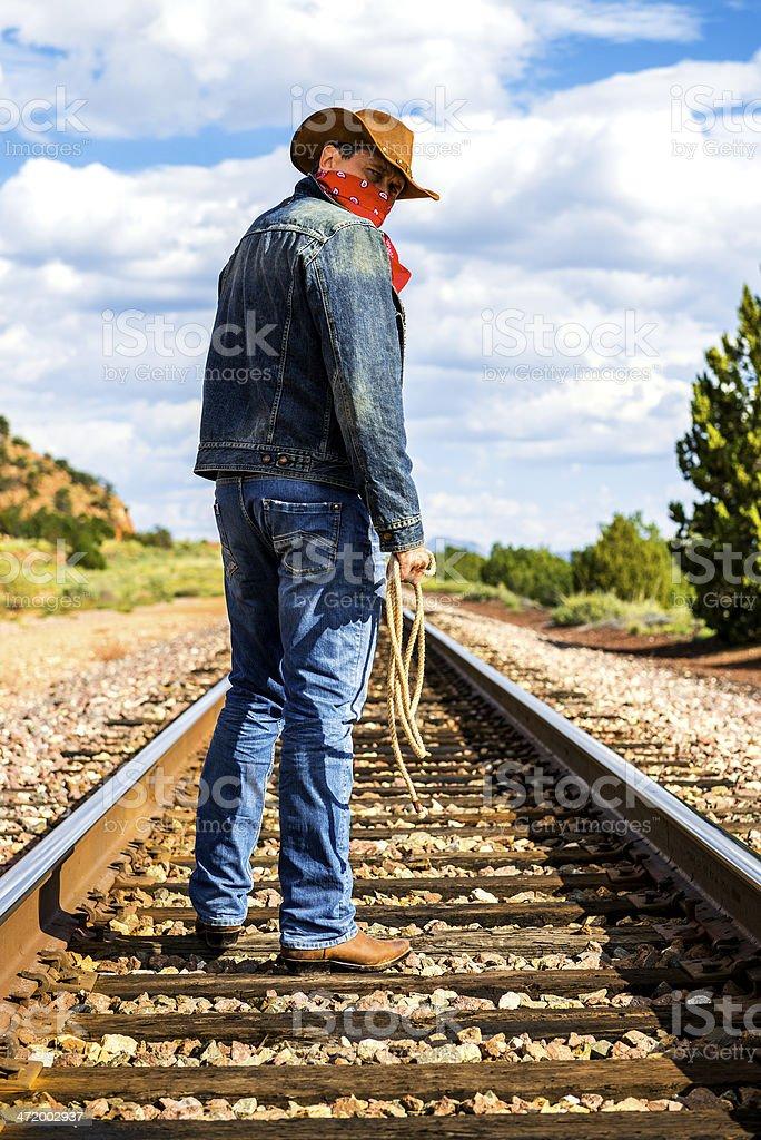 across train tracks stock photo