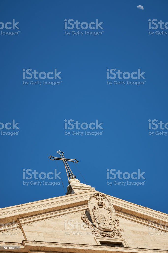 Acroterion from Church of the Jesuits (chiesa del Gesù) in Rome stock photo