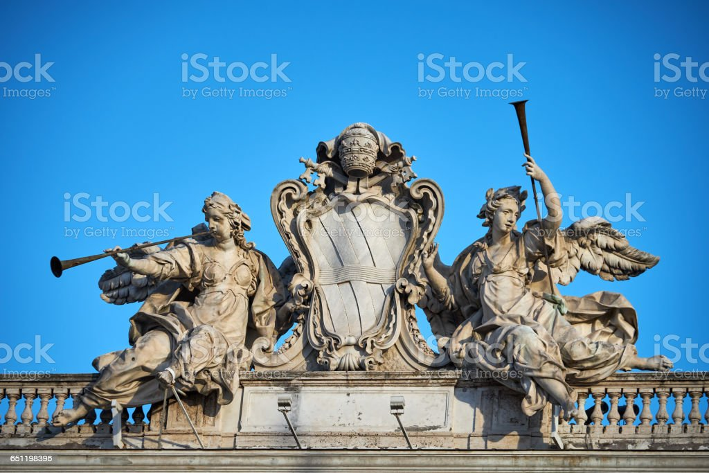 Acroterion - statue group from Quirinale Square, Rome stock photo